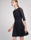 Lace Dress With Contrast Pleated Skirt