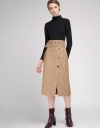 Belted Houndstooth Skirt With Button Front