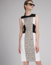 Fitted Dress With Contrast Tweed Panel
