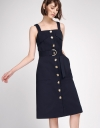 Belted Strappy Dress With Button Front