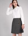 Checked Skirt With Button Detailing