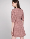 Houndstooth Dress With Button Front
