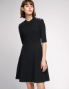 Fitted Knit Dress With Eyelet Detail