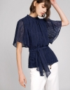 Ribbed Top With Self-Tie Bow