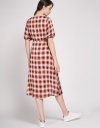 Tied Midi Dress In Check