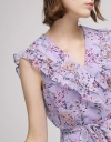 Ruffled Floral Dress With Asymmetric Hem
