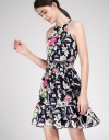 Elasticated Floral Dress With Halter Neck