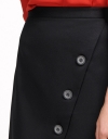 Button-Embellished Asymmetric Skirt
