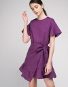 Sleeved Tied Dress With Asymmetric Hem