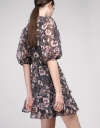 Floral Shift Dress With Ruffles