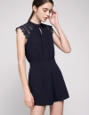Lace-Trimmed Pleated Romper