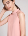 Shift Dress With Lace-Trimmed Detail