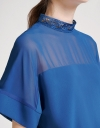 Sleeved Lace-Trimmed Blouse