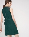 Belted Embroidered A-Line Dress