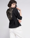 Sleeved Jacquard Top With Lace Back