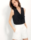 Sleeveless Top With Tie Front Detail