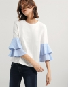 Contrast Layered Bell Sleeve Top
