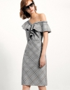 One-shoulder Dress With Ruffles In Checks