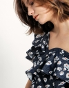 Off-shouldered Ruffled Top In Floral Print