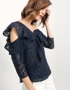 One Shoulder Long Sleeve Top In Lace