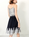 Pleated Skirt In Contrast Lace Hem