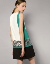 Shift Dress With Placement Lace Trim