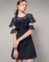 Frilled Lace Dress With Capped Sleeves