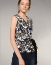 Abstract Floral Print Wrap Top