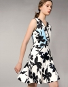 Retro Floral Printed Fit-Flare Dress