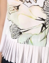 Botanical Print Top With Pleated Hemline
