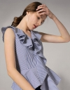 Striped Cotton Top With Asymmetric Ruffled Hemline