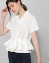 Ruffled Drawstring Top With Lapels