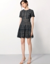 Floral Cord Lace Dress With Gathered Hemline