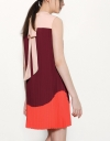 Pleated Tent Dress In Color-Block With High Neck