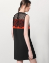 Contrast Panel Dress With Guipure Lace Yoke