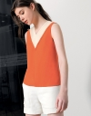 V-Neck Panelled Color-Block Top